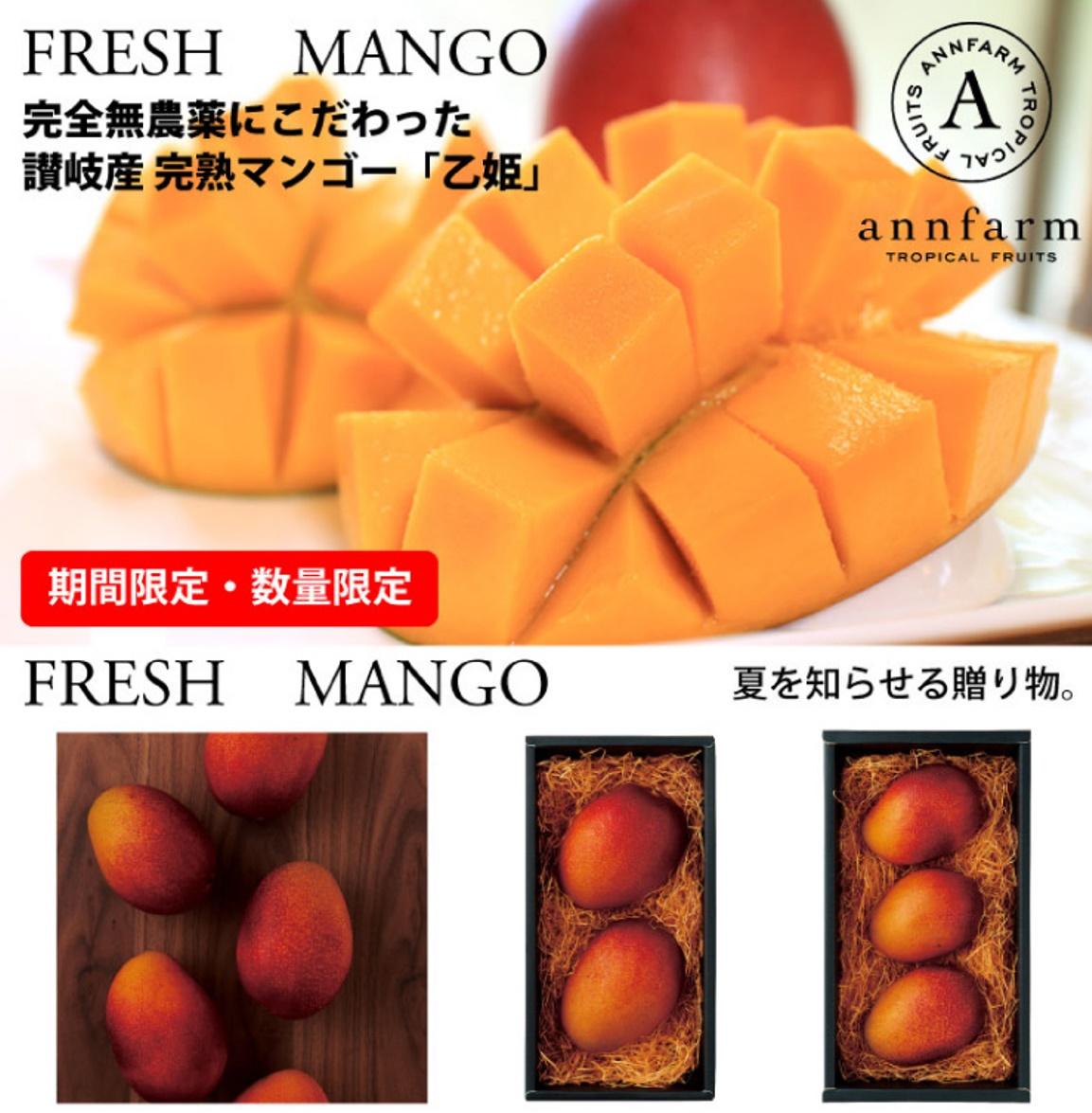 無農薬で大切に育てられたフレッシュマンゴーは、糖度15%以上!濃厚な甘さと香りが幸せ〜