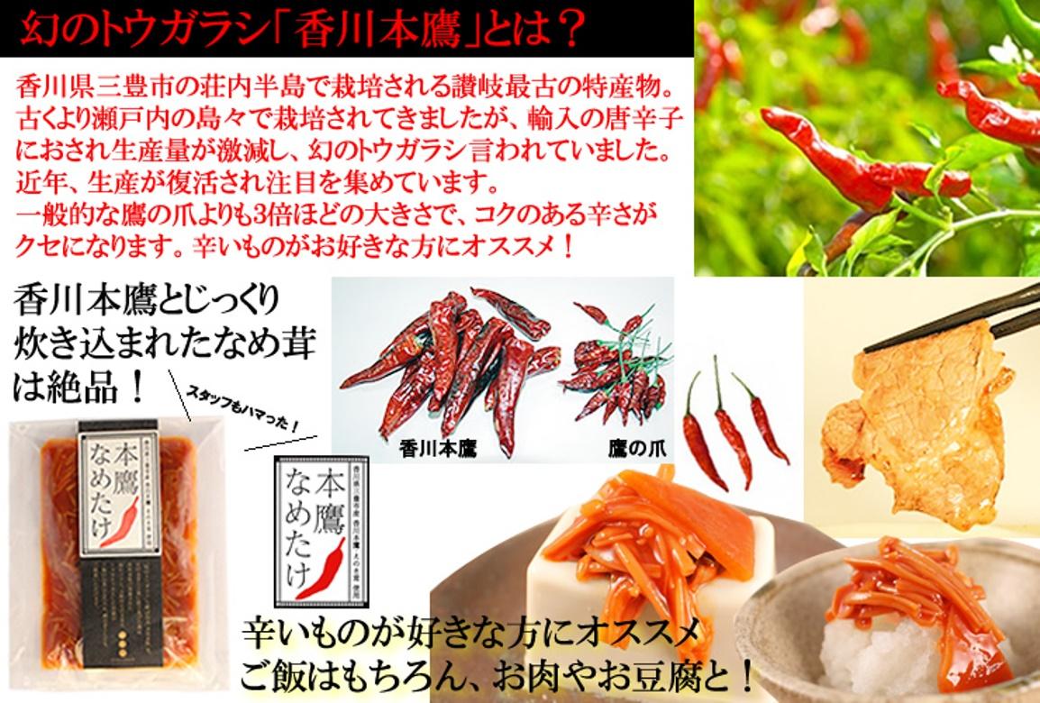 三豊市の荘内半島で栽培される讃岐最古の特産物。近年生産が復活され注目を集めています。一般的な鷹の爪より3倍ほど大きく、コクのある辛さが特徴です。