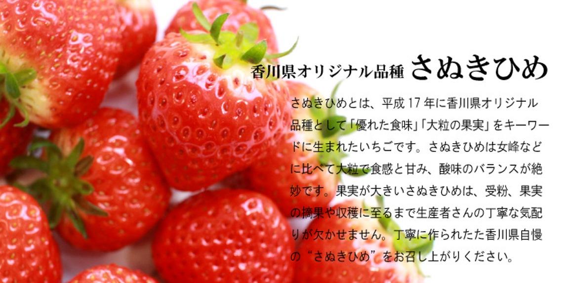 香川県オリジナル品種さぬきひめは、女峰などに比べ大粒で甘味が強い品種です。