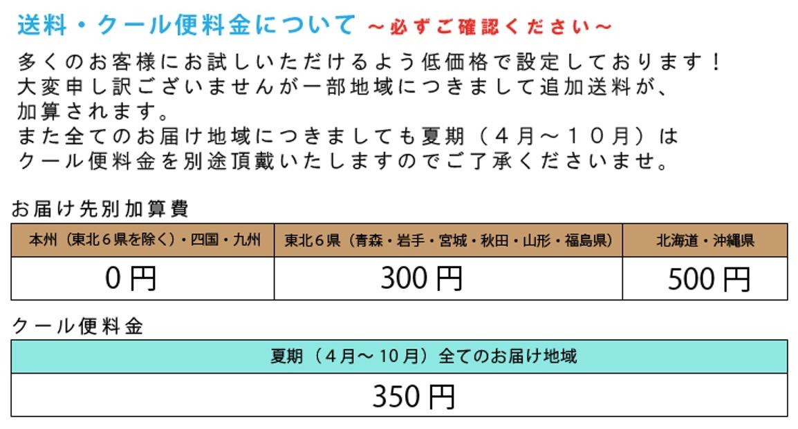 送料込1600円!東北6県へのお届けは300円、北海道・沖縄へのお届けは500円、別途配送料を頂戴いたします。ご了承下さい。